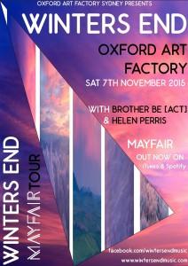 Oxford Art Factory Tour Poster Nov 2015